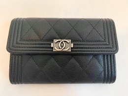 Chanel Boy Flap Wallet Black Caviar SHW