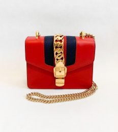 Gucci Sylvie Red Leather Mini Chain