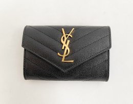 SAINT LAURENT Monogram Small Wallet in Black Grain Leather