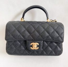 Chanel Mini 8 Top Handle Black Caviar GHW SS21