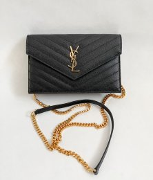 Saint Laurent Envelope Black Grained Leather GHW