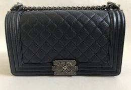 Chanel Boy 10 in Dark blue metallic caviar leather RSHW