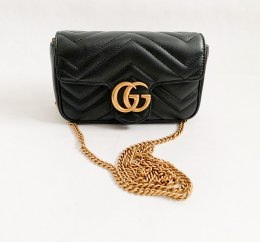 Gucci Marmont in Black Leather Super Mini