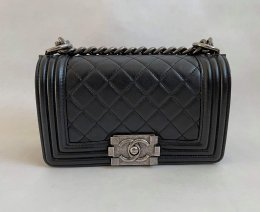 Chanel Boy 8 Small in Black Lamb Leather RSHW