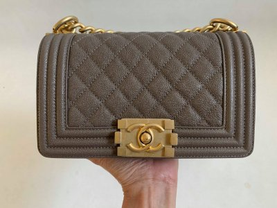 Chanel Boy 8 in Taupe Caviar GHW
