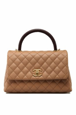 Chanel CoCo 9.5 Red Lizard Handle in Caramel Caviar