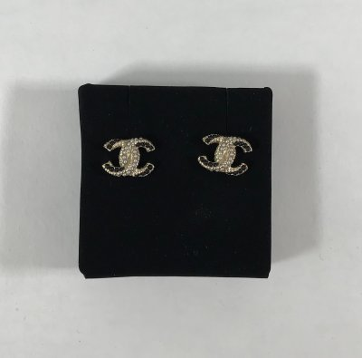 Chanel CC Stud Earrings Black And White Pearls