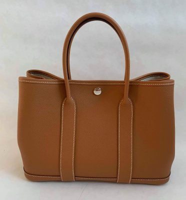 Hermes Garden Party 30 Epsom Brown Gold Leather