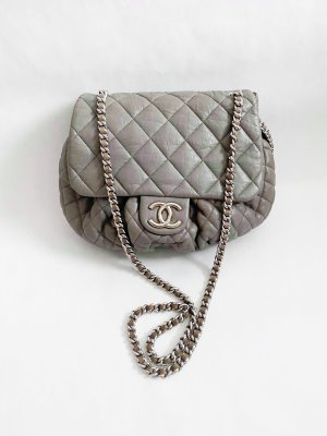 Chanel Chain Around Crossbody Bag in Grey Calf Leather SHW