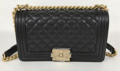 Chanel Boy 10 in Black Caviar