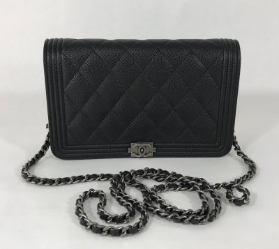 Chanel Boy Wallet On Chain Black Caviar RHW