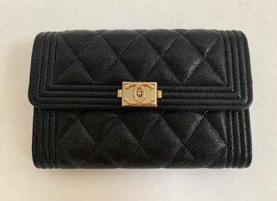 Chanel Boy Flap Wallet in Black Caviar