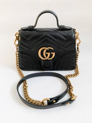 Gucci Marmont Mini Top Handle in Black Leather