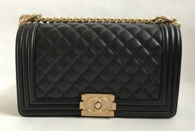 Chanel Boy 10 Black Caviar GHW
