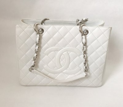 Chanel GST Tote in Off White Caviar SHW