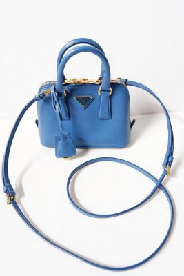 Prada Saffiano Leather Alma mini blue