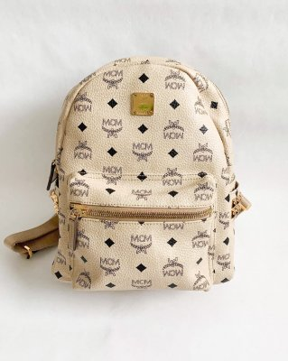 MCM Leather Backpack Beige Size S