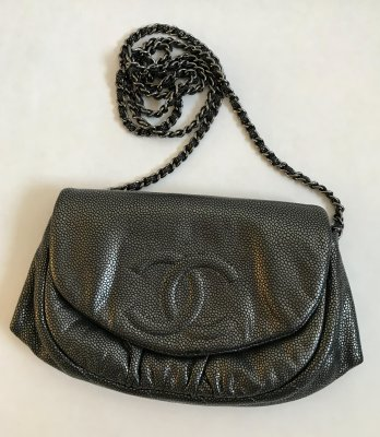 Chanel Half Moon Metalic Grey Calf Leather