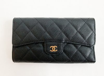 Chanel Classic Wallet in Black Caviar GHW