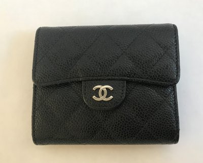 Chanel Wallet Doubled fold black caviar