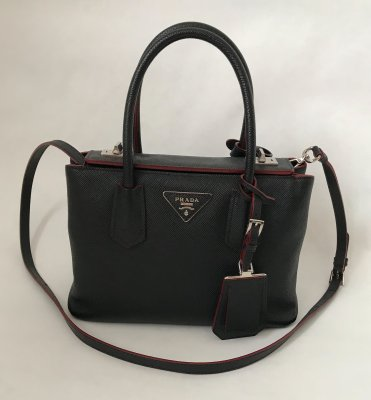 Prada Saffiano Cuir Twin in Black