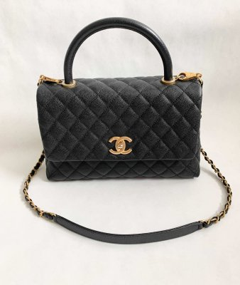 "Chanel CoCo 10.5"" Black Caviar Gold Brushed Hardware"