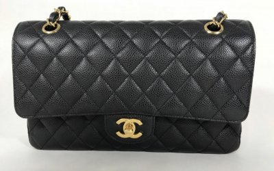 Chanel Claasic Medium 10 Dubble Flap Black Caviar GHW