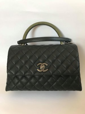 Chanel CoCo Green Lizard Handle 10.5