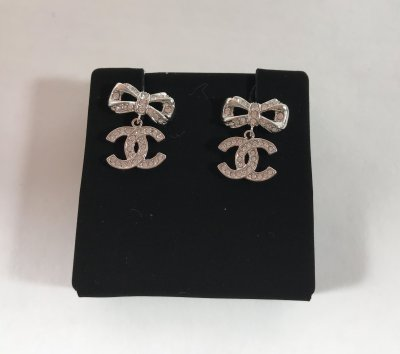 Chanel CC Earings Silver Hardware with Rhinestones