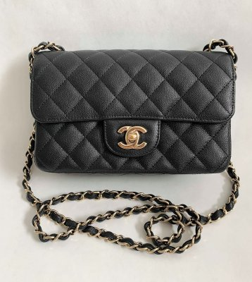 "Chanel Classic mini 8"" Black Caviar Leather and Light Gold Champagne Hardware."