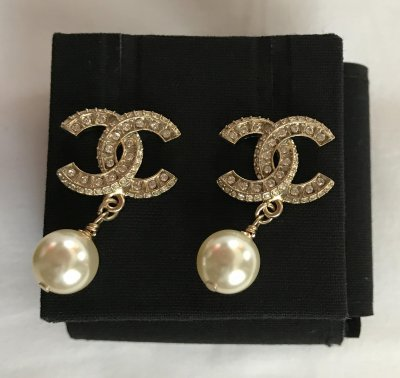 Chanel Earrings with Ehinestones and Pearl
