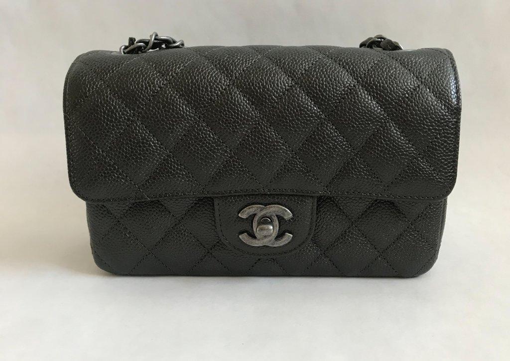 e4ef7bce3649b6 Chanel Classic Mini 8 Charcoal Caviar Leather RSH