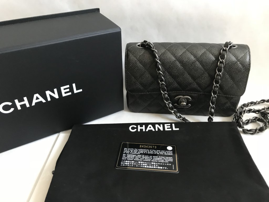 544153f7778a Chanel Classic Mini 8 Charcoal Caviar Leather RSH